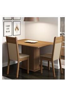 Conjunto Sala De Jantar Madesa Gabi Mesa Tampo De Madeira Com 2 Cadeiras Marrom