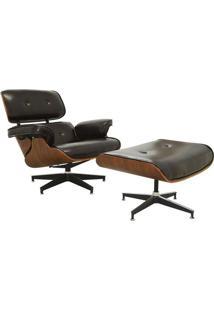 Poltrona Charles Eames Com Puff- Marrom Escuro & Marrom