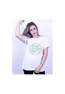 Camiseta Corte A Fio Bilhan Stay Salty Branca