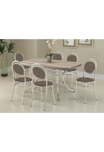 Conjunto Mesa 1507 Nogueira Cromada Com 6 Cadeiras 190 Camurça Conhaque Carraro