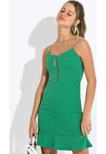 Vestido Curto De Alça Em Knitt Dobby Verde