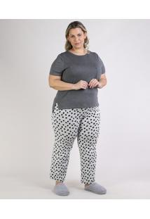 Pijama Feminino Plus Size Blusa Com Bolsinho Manga Curta Decote Redondo Cinza Mescla