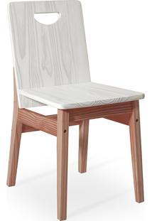 Cadeira De Madeira Para Mesa De Jantar Tucupi 40X51X81Cm - Acabamento Stain Nozes E Branco