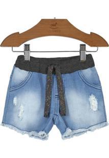Shorts Jeans Infantil Azul Claro