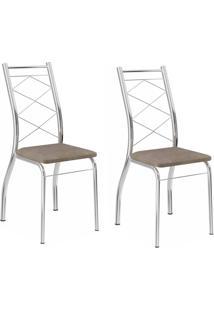Kit 2 Cadeiras 1710 Camurça Conhaque - Carraro Móveis