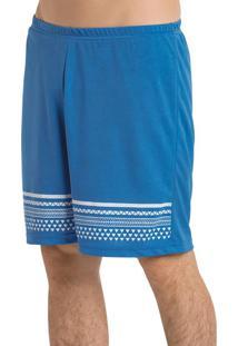 Bermuda Azul Com Estampa E Elástico Na Cintura