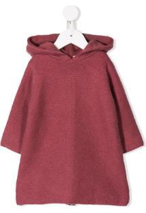 Bonpoint Vestido De Tricô Com Capuz - Rosa