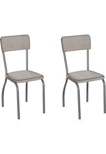 Conjunto Com 2 Cadeiras Nowra Palha E Cromado
