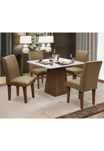 Conjunto De Mesa Para Sala De Jantar Com 4 Cadeira Florença Fit - Dobue - Castanho / Branco Off / Castor