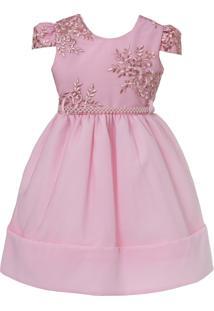 Vestido Infantil De Festa Libelinha Com Renda – Rosa