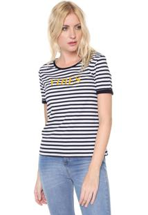 Camiseta Dzarm Vibes Listrada Preta/Branca