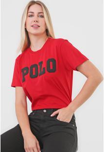 Camiseta Polo Ralph Lauren Logo Vermelha - Vermelho - Feminino - Dafiti