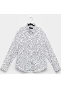 Camisa Infantil Yacht Estampada Manga Longa Masculina - Masculino-Branco