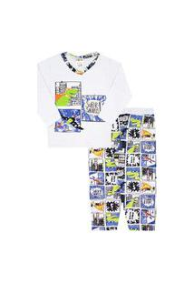 Pijama Bebê Masculino Branco Camiseta Manga Longa Dino Herói E Calça Sem Punho (1/2) - Fantoni - Tamanho 2 - Branco,Azul