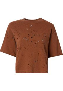 Camiseta John John Basic Whisky Malha Algodão Marrom Feminina (Marrom Medio, Pp)