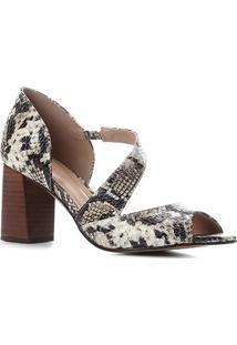 Peep Toe Couro Shoestock Cobra Salto Bloco - Feminino-Off White+Preto