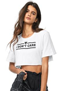 Camiseta Cropped Cavalera I Dont Care Branca