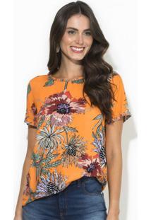Camiseta Floral Laranja
