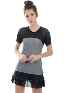 Camiseta Manga Curta Pinyx Vitro Cinza E Azul Royal - Tricae