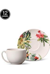 Conjunto 12Pçs Xícaras De Chá Porto Brasil Coup Caribe Branco
