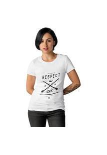 Camiseta Feminina Ezok Respect Branco