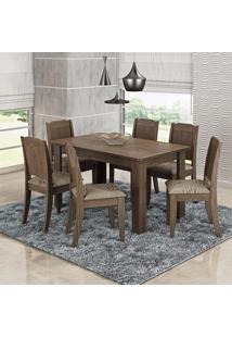 Conjunto Sala De Jantar Mesa 6 Cadeiras Bárbara Cimol Color Flex Marrocos/Café