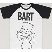 5ffe8276e Camiseta Infantil Bart Simpson Raglan Manga Curta Gola Careca Cinza Mescla  Claro