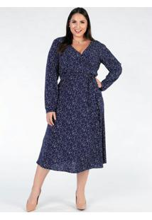 Vestido Plus Size Mini Poá Azul