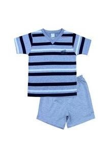 Pijama Infantil Ano Zero Menino Malha Mescla Listrada Silk Az - Preto