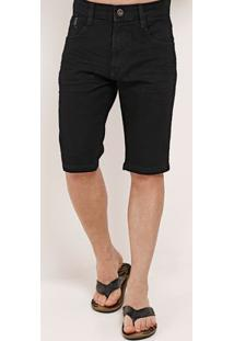 Bermuda Slim Jeans Masculina Dixie Preto
