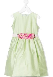Lesy Vestido Com Acabamento Floral - Verde