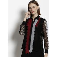 b974c3736e Camisa Em Seda Com Passamanaria - Preta   Vermelhaversace