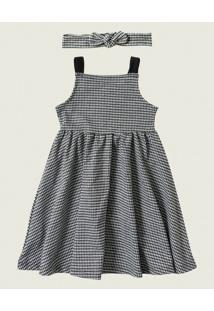 Vestido Godê Vichy Malwee Kids Preto - 1