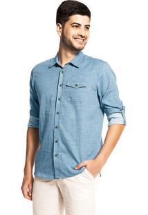Camisa Tricoline Masculina Rovitex Azul