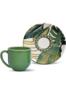 Xícara De Café Com Pires Coup I Floral E Verde