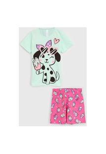 Pijama Malwee Liberta Curto Infantil Cachorrinho Verde/Rosa