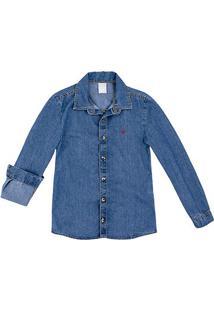 Camisa Jeans Juvenil Hering Manga Longa Masculina - Masculino-Azul