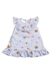 Vestido Em Cotton Estampado Conchinha Para Bebê - Anjos Baby Azul