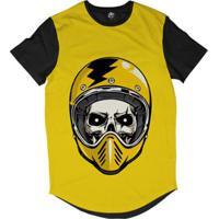 37ea1bfc45 Camiseta Longline Bsc Caveira De Capacete Raio Sublimada Masculina -  Masculino-Amarelo