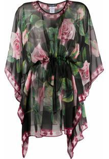 Dolce & Gabbana Tropical Rose Drawstring Hem Blouse - Preto