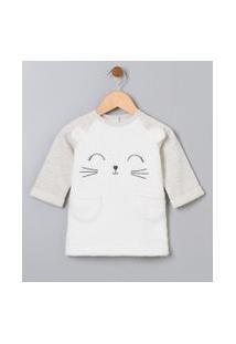 Vestido Infantil Em Fleece Com Orelhinhas - Tam 0 A 18 Meses | Teddy Boom (0 A 18 Meses) | Branco | 9-12M