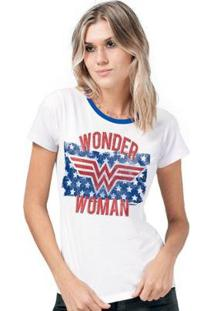 Camiseta Bandup! Wonder Woman Flag Stars - Feminino-Branco