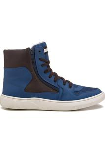 Tênis Sneaker Masculino Rock Fit Rush Azul E Café
