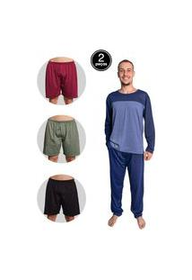 Kit Pijama Masculino Bella Fiore Modas Longo E Samba Cançáo Malha Multicolorido