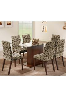 Conjunto De Mesa Com 6 Cadeiras Karla Tabaco E Floral