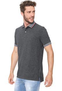 0d25a083d5 Camisa Polo Tommy Hilfiger Reta Oxford Cinza