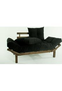 Sofá Cama Madeira Futon Country Comfort Acab. Stain Nogueira Com Almofada/Colchao Tecido Preto 99 - 190X80X83 Cm