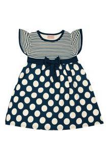 Vestido Infantil - Manga Curta Com Poás - Algodão E Elastano - Marinho - Duduka