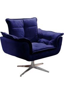 Poltrona Decorativa Brandson Azul Em Veludo Base Giratória Orion