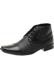 Bota Social Touro Boots Com Perfuros E Cadarã§O Preto - Preto - Masculino - Dafiti